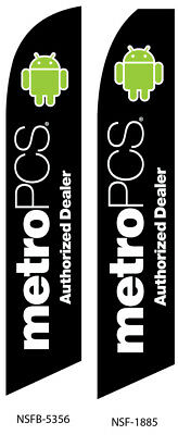 TWO MetroPCS Authorized Dealer (black) Swooper Feather Flag Sign