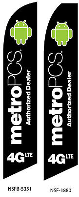 TWO MetroPCS Authorized Dealer 4GLTE Swooper Feather Flag Sign