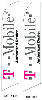 TWO T-mobile Authorized Dealer Swooper Feather Flag Sign
