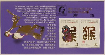 2016 Hobart Stamp Show Limited Lunar Year of the Monkey overprint o/p minisheet