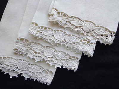 Set of 4 Antique Italian White Linen Towels Superb Hand Embroidery Cutwork