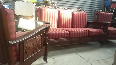 Antique -Old Wooden Carved Lounge Armchairs  Setting On Castors