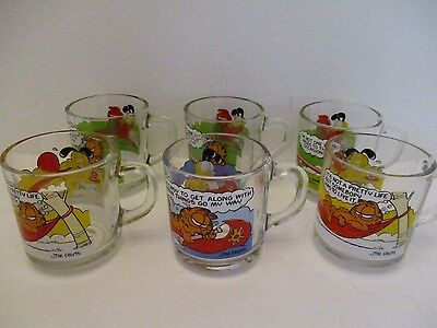 Lot of 6 Vintage McDonalds Garfield and Odie Glass Coffee Mugs Cups 1978 & 1980