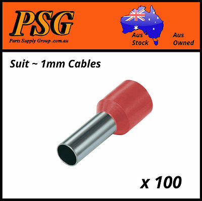 Cable Ferrules 1mm2 x 100 pack, Bootlace Ferrules, Pin Crimps, Wire Sleeves