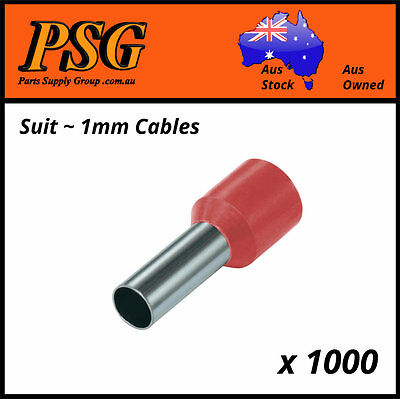 Cable Ferrules 1mm2 x 1000 pack, Bootlace Ferrules, Pin Crimps, Wire Sleeves
