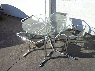 Dining Table Mid Century Modern Jerry Johnson Chrome Metal Chairs Set Kitchen