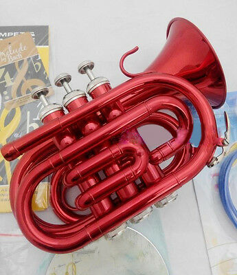 Red New Top Grade Professional B Flat Brass Musical Instruments Trumpet  #