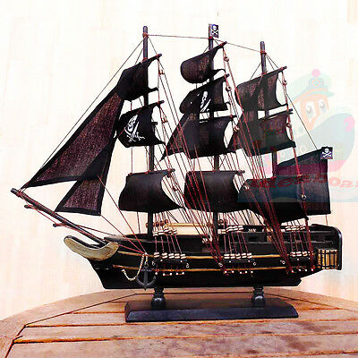WOOD MODEL 50cm Length PIRATE SHIP Sailing Boat Corsair Tall Ship Nautical decor