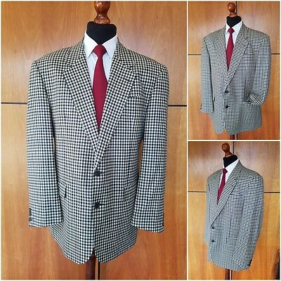Vintage Burberrys Mens Pure All Wool Jacket Blazer Dogtooth Classic Check 42/43S