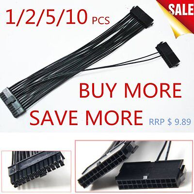 24Pin 20+4 Dual PSU ATX Power Supply Adaptor Cable Connector For Mining 30cm LFA