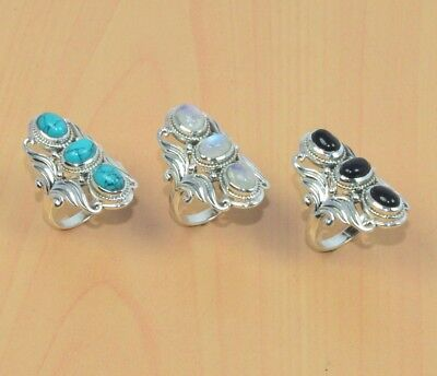 Wholesale 3Pc 925 Solid Sterling Silver Black Onyx,turquoise Big Ring Lot L095