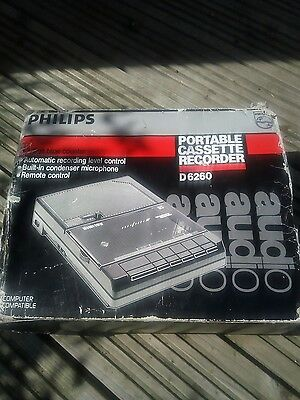NEW d6260 philips portable cassette recorder Computer Compatible NOS Freepost