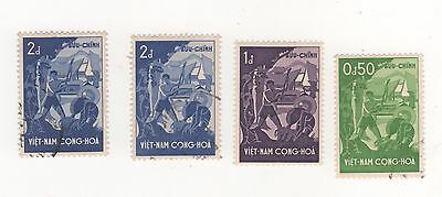 """1958 South VIETNAM """" BETTER LIVING STANDARDS """" to 2d. Blue SG#S54-S56 USED"""