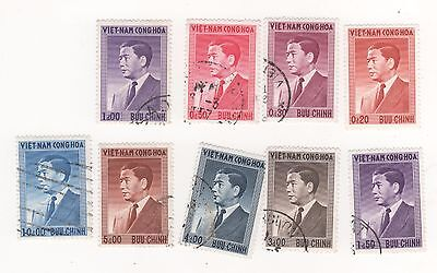 1956 South VIETNAM Definitives x 9 to 10d. Blue  SG#S14-S22  MNG (1) USED (8)