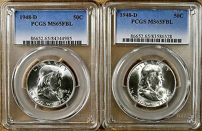 1948-D PCGS MS65 FBL Franklin Half Dollar - 100% White