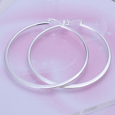 New Stunning 925 Sterling Silver 55mm Large Solid Circle Flat Hoop Earrings
