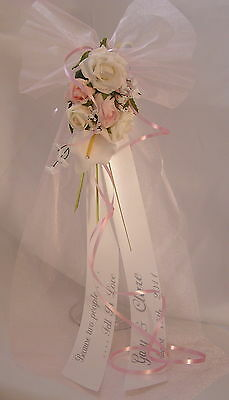 Wedding Pew Bows 'CRYSTAL'  Church Venue Pew Ends Chairback Decor All Colours