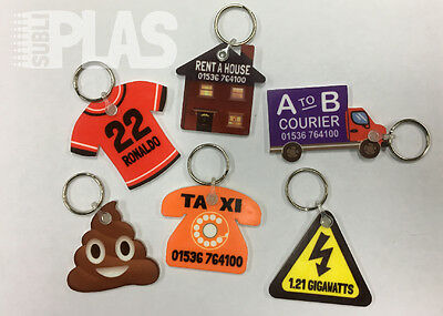 Sublimation Key Ring Blanks, from only 60p each. Double Sided, Keyring, Keyrings