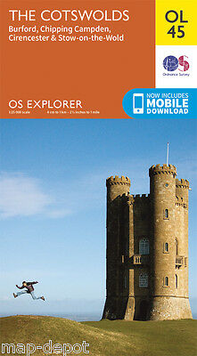 THE COTSWOLDS EXPLORER Map - OL 45 - OS Ordnance Survey - inc. MOBILE DOWNLOAD