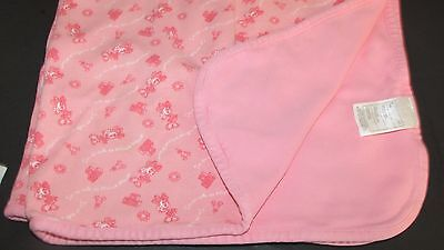 Disney Minnie Mouse Pink Baby Girl cotton knit receiving blanket blocks flowers