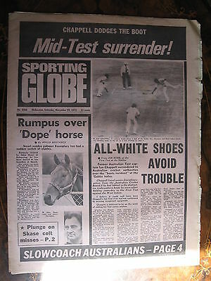 Sporting Globe NOV 29 1975 Ian Chappell Boots Incident