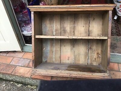 Antique Vintage Rustic Pine Shelf Unit Well Used Country Kitchen Books Utensils