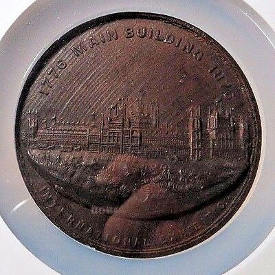 Rare - 1876 Fairmont Park Pa  -  Int'l Expo -  Struck In Wood !  Ngc Ms-62