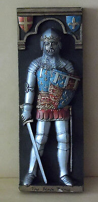 Vintage Plaque - The 'black Prince' - In Full Armour & Heraldry