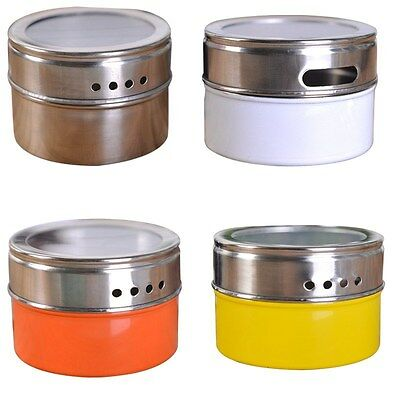 Hot Stainless Steel Magnetic Spice Storage Jar Tins With Rack Holder