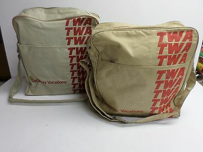 """Vintage Lot of Two (2) """"TWA"""" AIRLINES CANVAS CARRY-ON BAGS with STRAPS"""