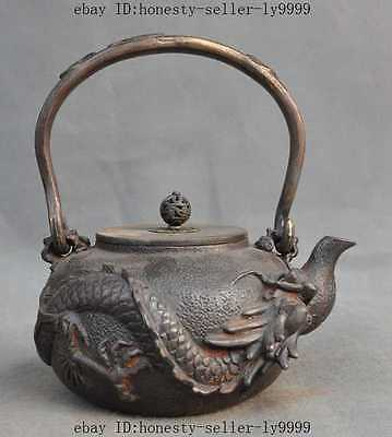 China Collect Archaic Japanese Iron Silver Gilt Huge Dragon Flagon Wine Tea Pot