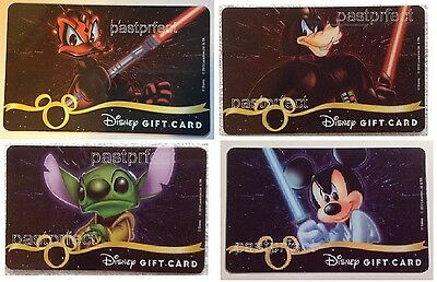 Disney 4 Gift Cards Star Wars Donald Stitch Goofy Mickey Collectible *No Value*