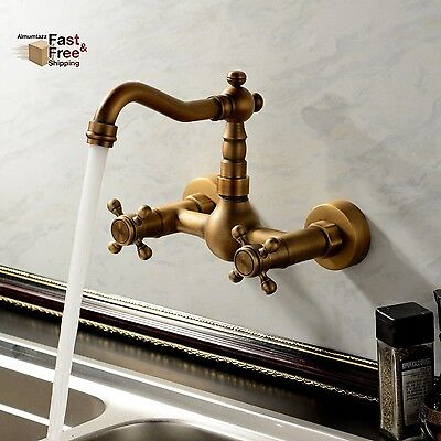 Antique Vintage Bathroom Sink Faucet Wall Mount Two Handles N/ Holes Solid Brass
