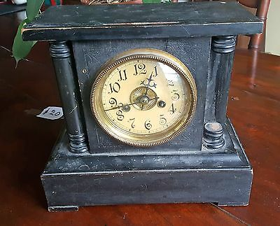 Antique Wooden Black Mantle Clock 1880's Striking Gong Hamburg American? restore