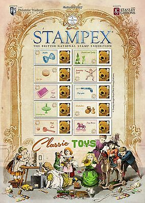 Stampex Smiler Sheet Autumn 2017 Classic Toys Philatelic Traders Society Sheet