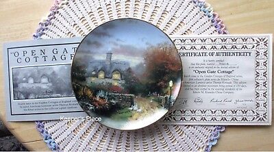 Thomas Kinkade OPEN GATE COTTAGE 4th Issue In Garden Cottages Plate COA Mint