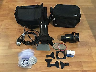 Dedolight 150W DLHM4-300 & DP1 Projection 85mm Lens, Gobos, Cases, Extras, MINT