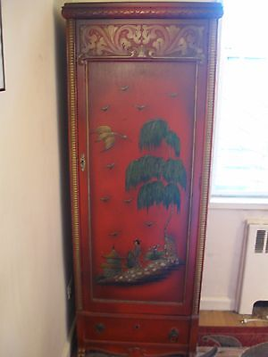 Vintage Mid Century Tall Asian Cabinet Storage Closet Shelving Red Apt Size