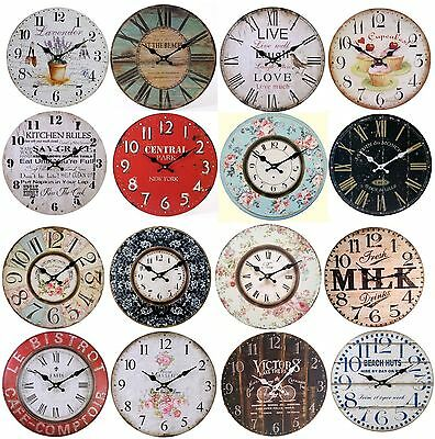 New Large Vintage Wooden Wall Clock Shabby Chic Rustic Kitchen Home Antique US