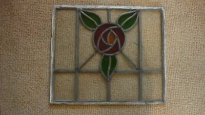 """Antique arts & crafts style leaded stained window 15.5 x 13.5"""""""