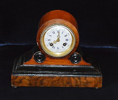 Antique Mahogany & Ebony Small Drum Head Mantle Clock Striking on Bell