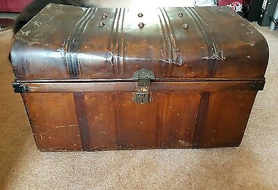 Stunning antique vintage Edwardian tin cabin trunk.