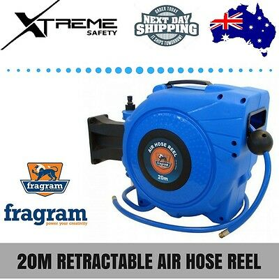 """Fragram Tools 20m Retractable Air Hose Reel 1/4"""" BSP Male Inlet and Outlet"""