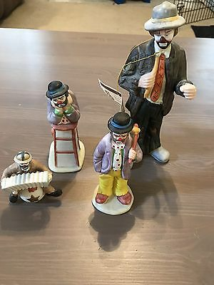 Lot of (4) Flambro Emmett Kelly Jr Porcelain Figurine Statues Collectible