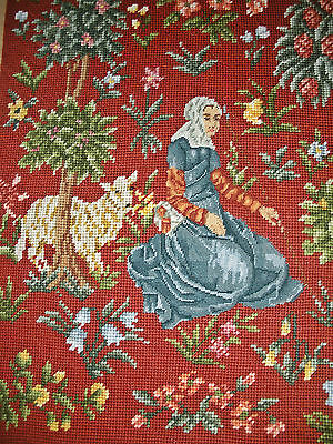 Vintage Needlepoint Embroidery,  Petit Point Detail ~Mille Fleurs Lady & Sheep~