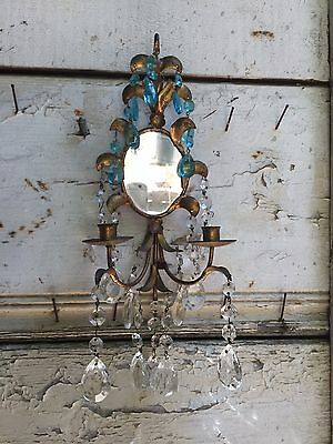 Small Old Italian Gilt Metal Mirror Candle Wall Sconce Blue Clear Crystals