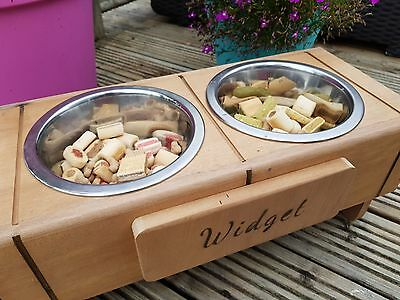 Vintage Upcycled Double dog bowl stand - Personalised with any name, handmade UK
