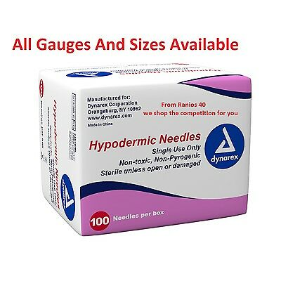 Dynarex Hypodermic Sterile Needles, Different Gauge & Size ( 100 In Each BOX)