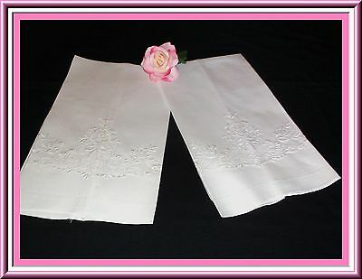 Pair Vintage Whitework Embroidered Towels With Punchwork & Hemstitching