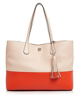 6ae32dff16de Tory Burch IN PLASTIC Color Block Perry Leather Tote Pale Apricot Poppy Red